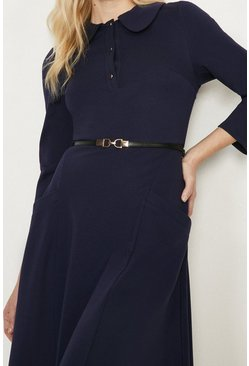 Navy Ponte Dress With Collar And Belt