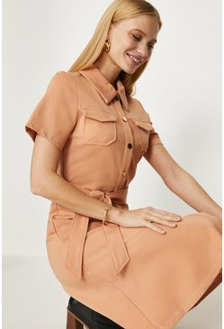 Camel Button Through Ponte Dress
