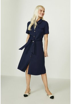Navy Button Through Ponte Dress
