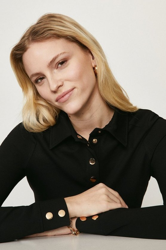 Black Button Through Ponte Top With Collar Detail