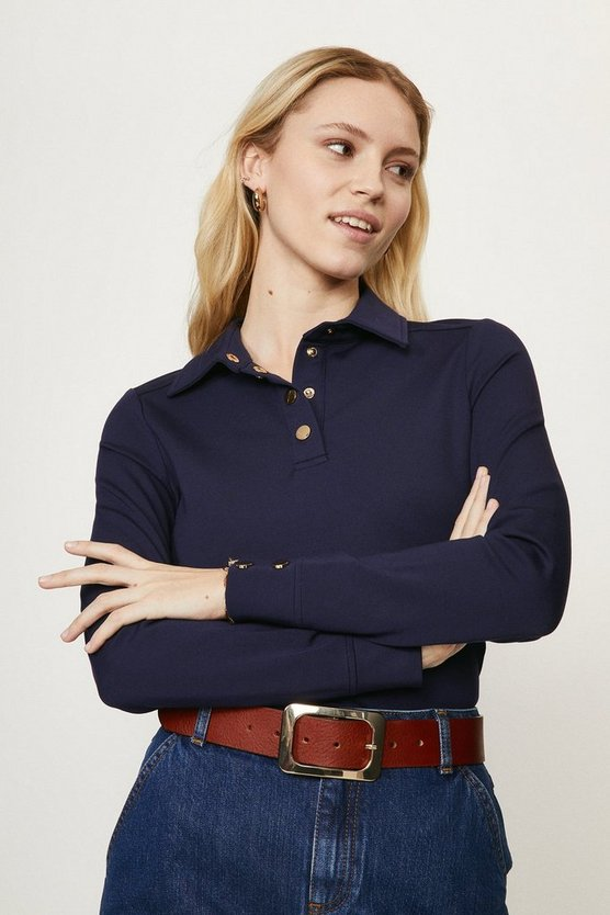 Navy Button Through Ponte Top With Collar Detail