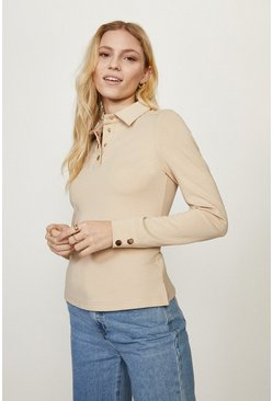 Stone Button Through Ponte Top With Collar Detail