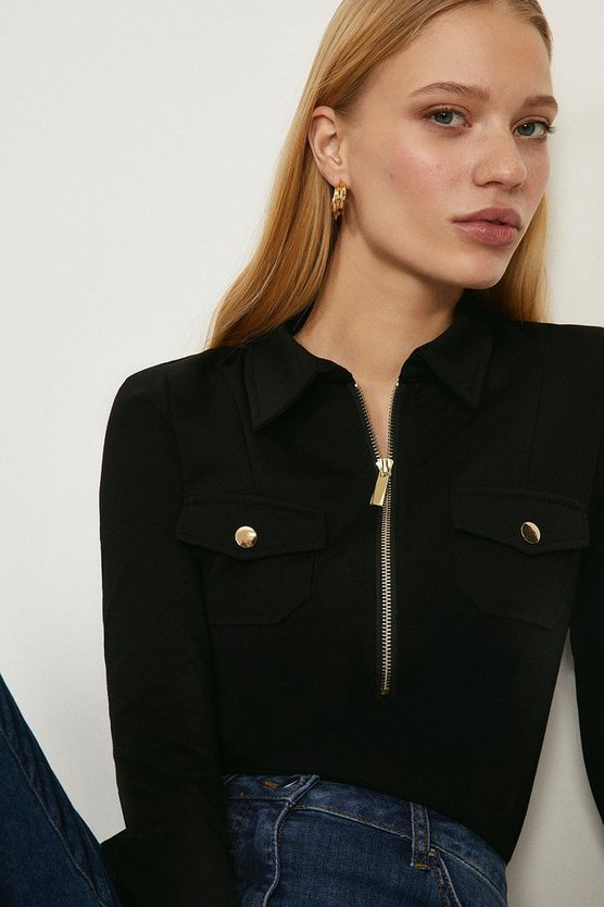 Black Zip Up Ponte Top