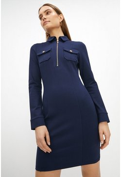 Navy Zip Up Ponte Dress