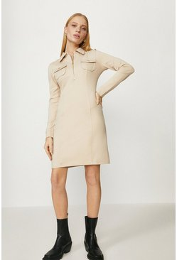 Stone Zip Up Ponte Dress