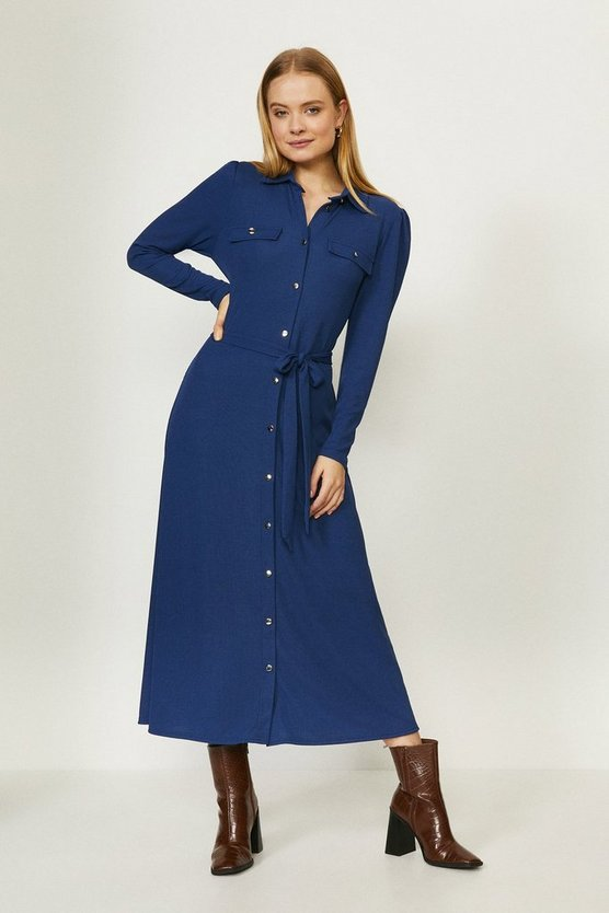 Navy Ribbed Jersey Shirt Dress