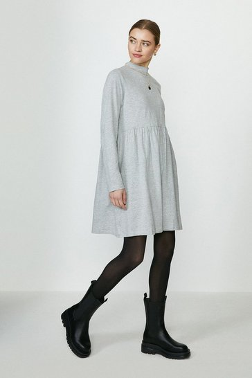 Grey High Neck Jersey Smock Dress