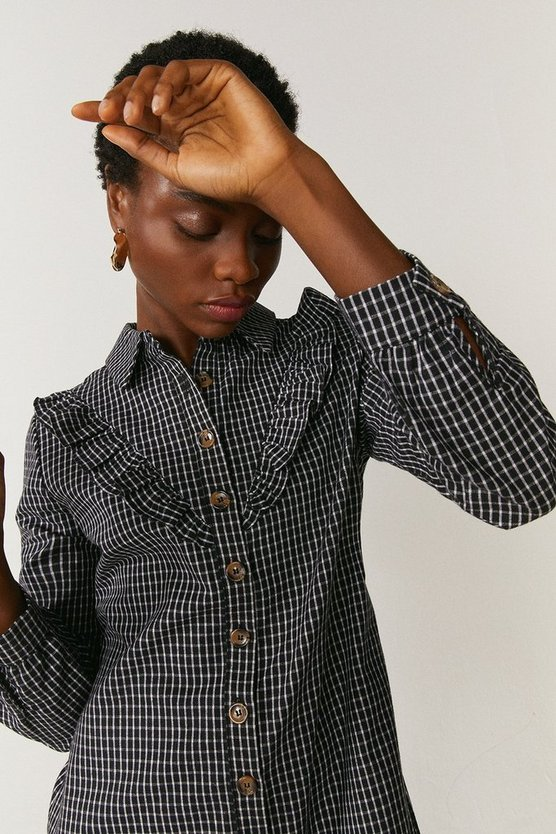 Mono Ruffle Detail Check Shirt Dress