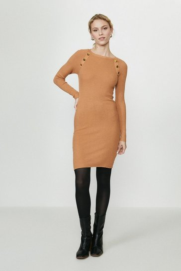 Camel Gold Popper Detail Ribbed Jumper Dress
