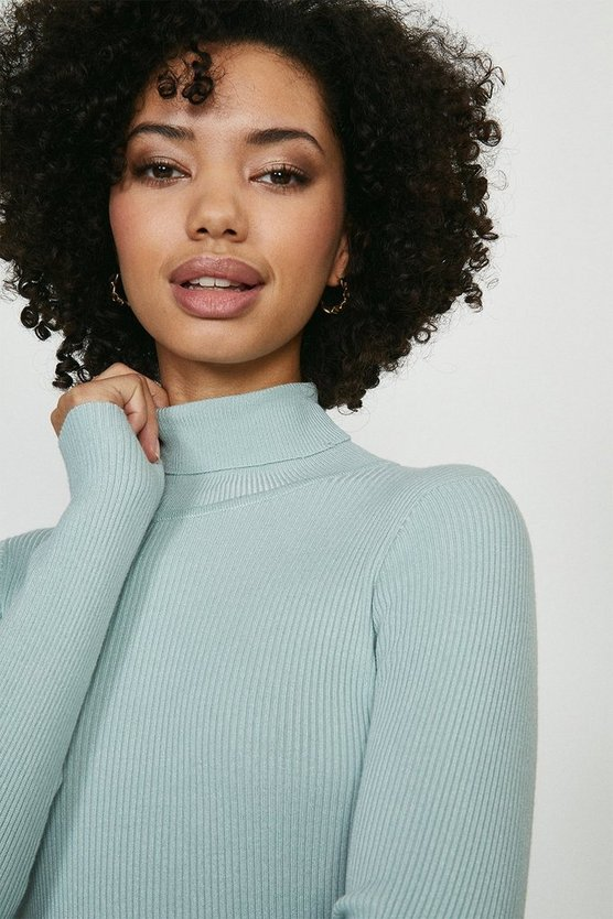 Sage Lightweight Knitted Roll Neck Jumper