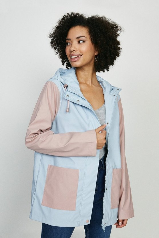Pastel blue Colour Block Hooded Mac