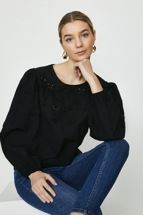 Black Floral Broderie Puff Sleeve Blouse