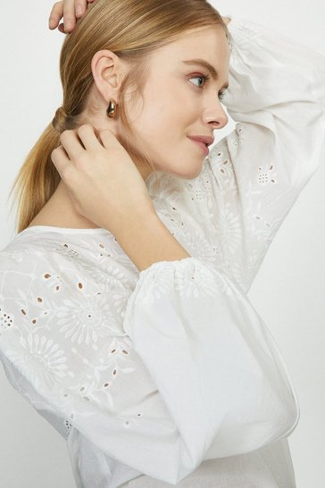 White Floral Broderie Puff Sleeve Blouse