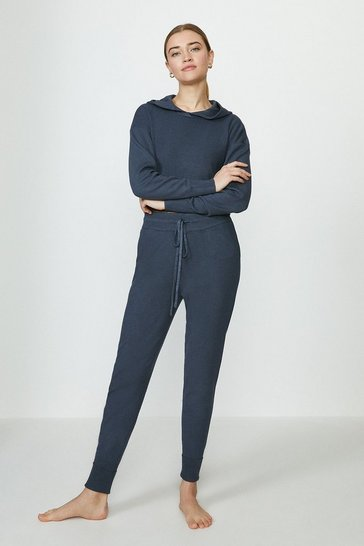 Charcoal Knitted Hoody And Jogger Lounge Set