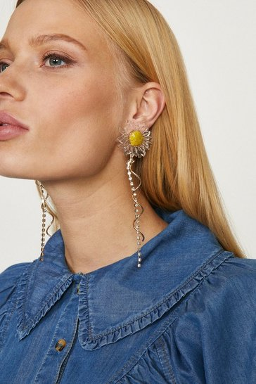 Gold Daisy Flower Diamante Drop Earrings