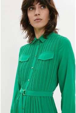 Green Pleated Midi Shirt Dress
