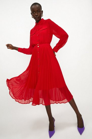 Red Pleated Midi Shirt Dress