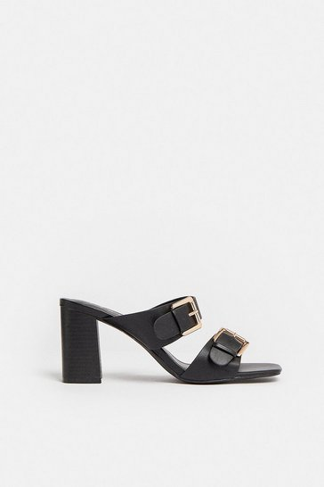 Black Buckle Double Strap Heeled Mule