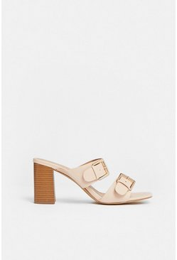 Cream Buckle Double Strap Heeled Mule