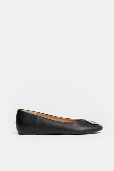 Black Ring Detail Square Toe Ballet Pump