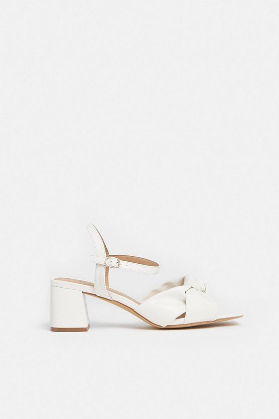 White Twist Strap Block Heel Strappy Sandal