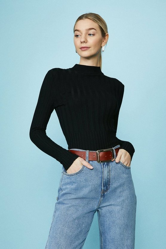 Black High Neck Lightweight Knitted Rib Jumper