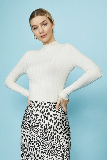 Cream High Neck Lightweight Knitted Rib Jumper