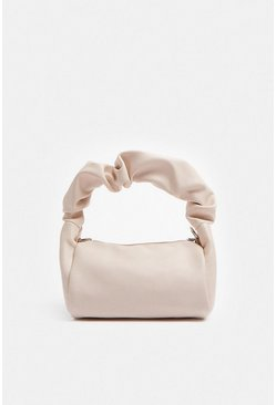 Cream Ruched Handle Structured Bag