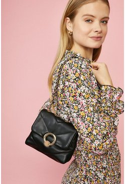 Black Quilted Ring Detail Bag With Chain Strap