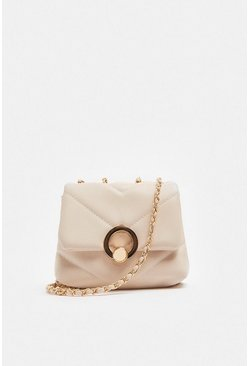 Cream Quilted Ring Detail Bag With Chain Strap