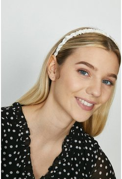 Cream Ruched Skinny Satin Headband