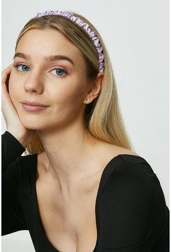 Lilac Ruched Skinny Satin Headband