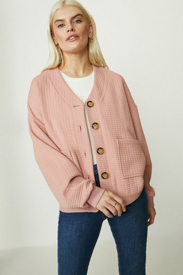 Dusky pink Jersey Button Through Quilted Jacket