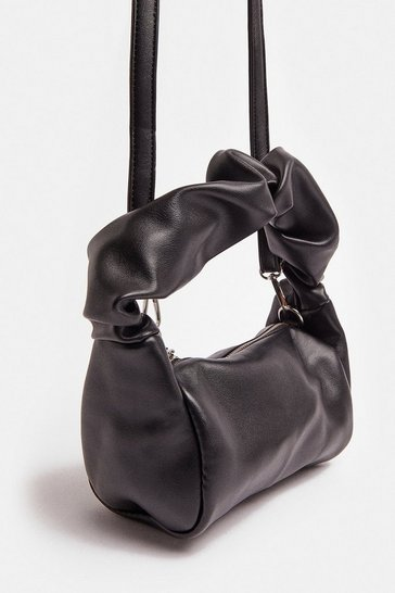 Black All Over Ruched Bag With Chain Strap