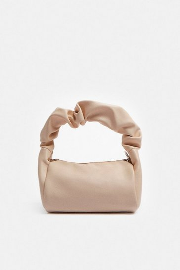 Nude All Over Ruched Bag With Chain Strap