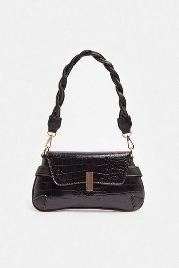 Black Twisted Strap Croc Bag