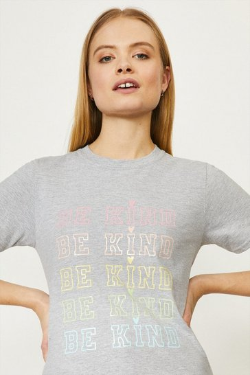 Grey marl Be Kind Pastel Rainbow T-shirt