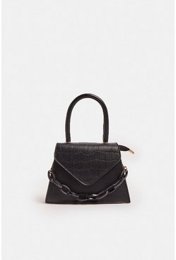 Black Mini Croc Bag With Chunky Chain Strap