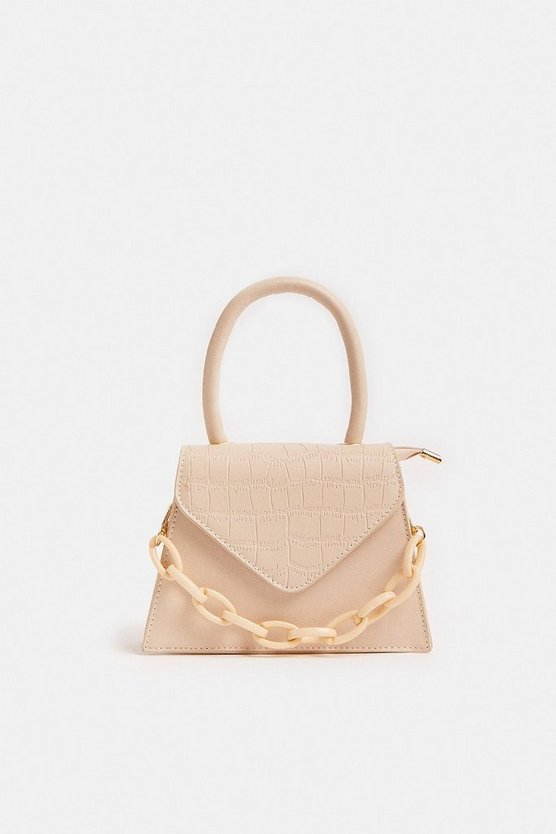 Cream Mini Croc Bag With Chunky Chain Strap