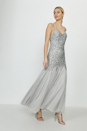 Grey Sequin Cami Strap Fishtail Maxi Dress