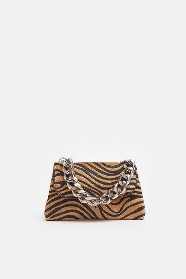 Animal Zebra Print Bag With Chunky Chain Strap