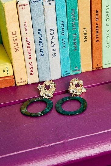 Gold Hammered Stud And Hoop Earrings