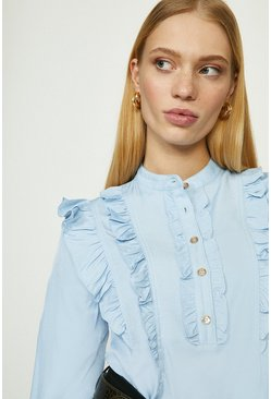 Denim-blue Ruffle Detail Shirt