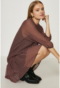 Pink Textured Mini Check Smock Dress