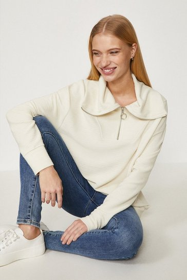 Light stone Ottoman Half Zip Sweatshirt