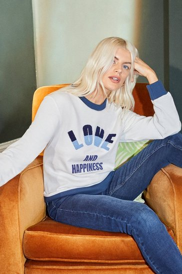 White Love & Happiness Towelling Detail Sweatshirt
