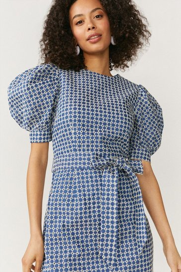 Indigo Embroidered Denim Puff Sleeve Dress