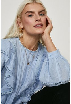 Pale blue Frill And Lace Detail Dobby Blouse