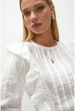 White Frill And Lace Detail Dobby Blouse