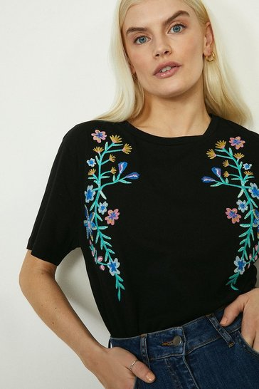Black Trailing Floral Embroidered T Shirt